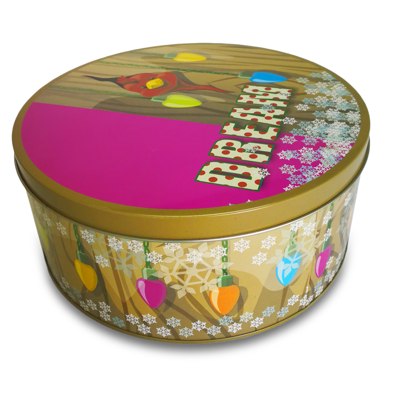 Biscuit Tin Box Dream Storage Tin Box, Christmas Gift Metal Snack Box, Round Candy box