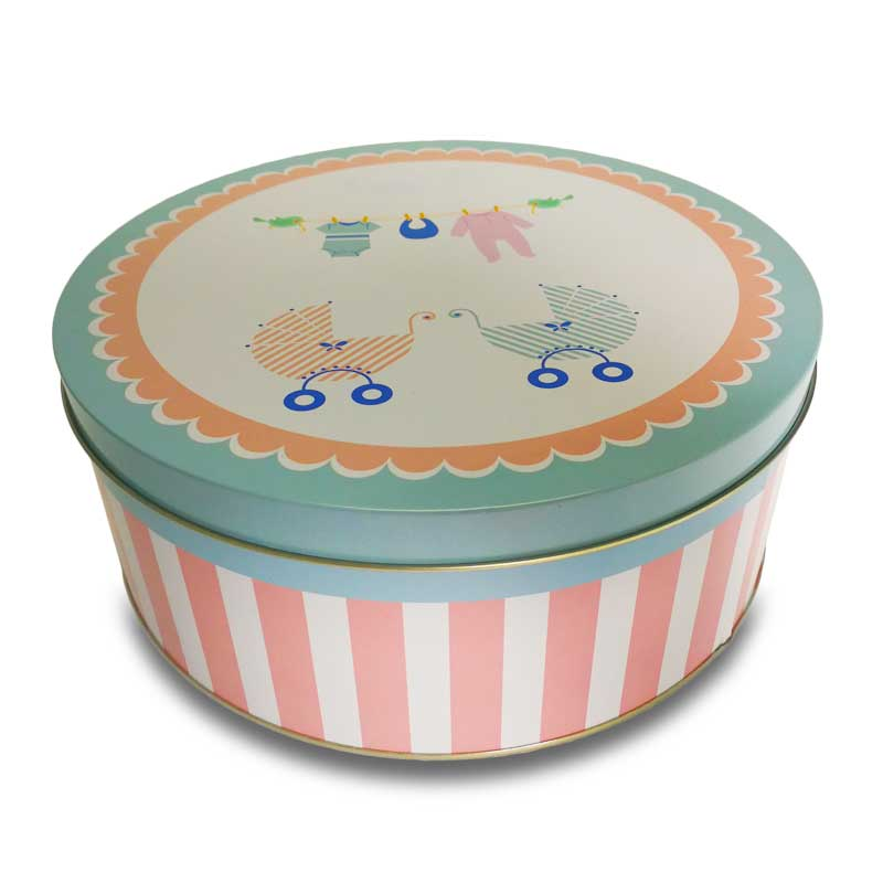Biscuit Tin Box Dream Storage Tin Box, Christmas Gift Metal Snack Box, Round Candy box