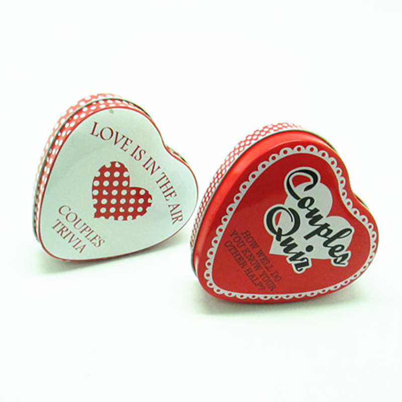 Customized Heart Shape Chocolate Packaging Tin Box
